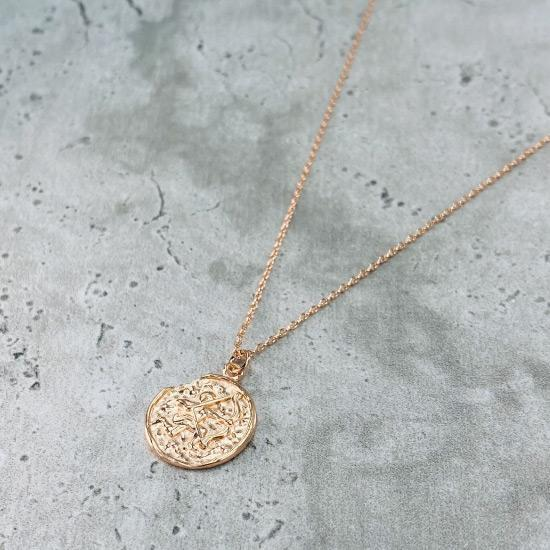 Rose Gold Star Sign Coin Necklace - Sagittarius