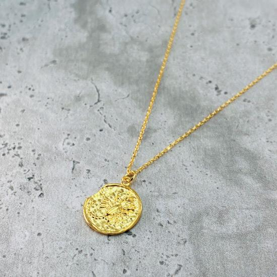 Gold Star Sign Coin Necklace - Scorpio