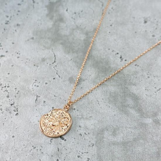 Rose Gold Star Sign Coin Necklace - Scorpio