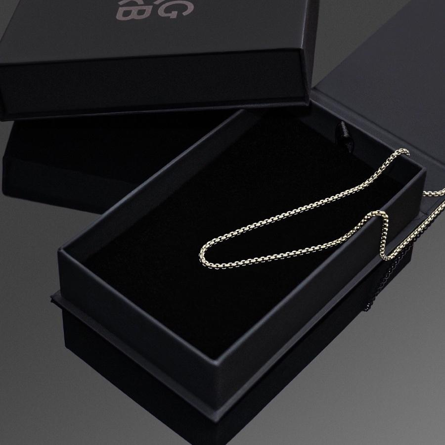 Silver Box Chain - Our Minimal Silver Box Chain features our premium box chain and signature polished Silver plate, engraved with RG&B.