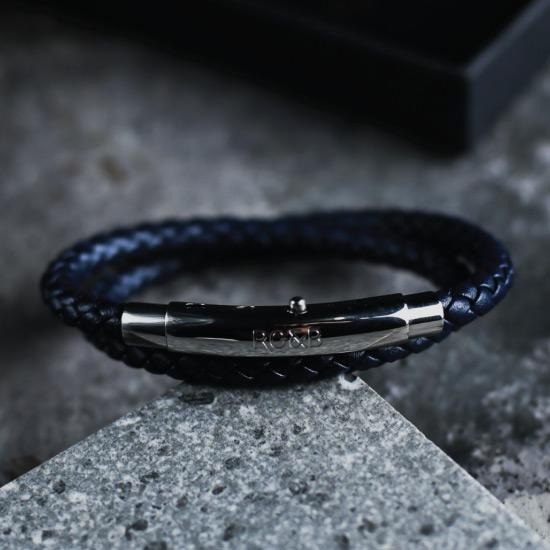 Woven Adjustable Double - Silver & Navy