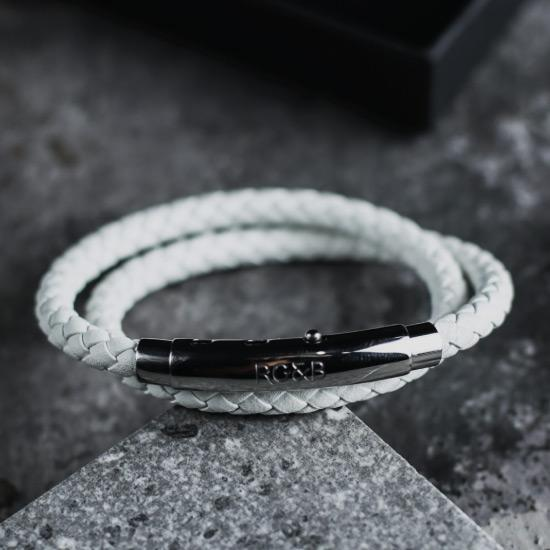 Double Leather Bracelet in Silver & White - Our Men's Double Leather Bracelet with White Leather and a Polished Silver Adjustable Clasp Engraved with our Signature RG&B Logo.