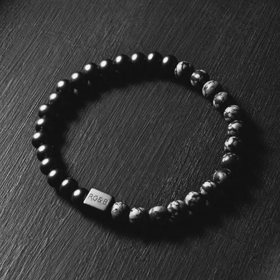 Black Collection - Snowflake Obsidian Stone Bracelet (6mm)