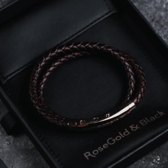 Tan Leather Bracelet - Our Men's Tan Leather Bracelet with Tan Leather and a Polished Rose Gold Adjustable Clasp Engraved with our Signature RG&B Logo.