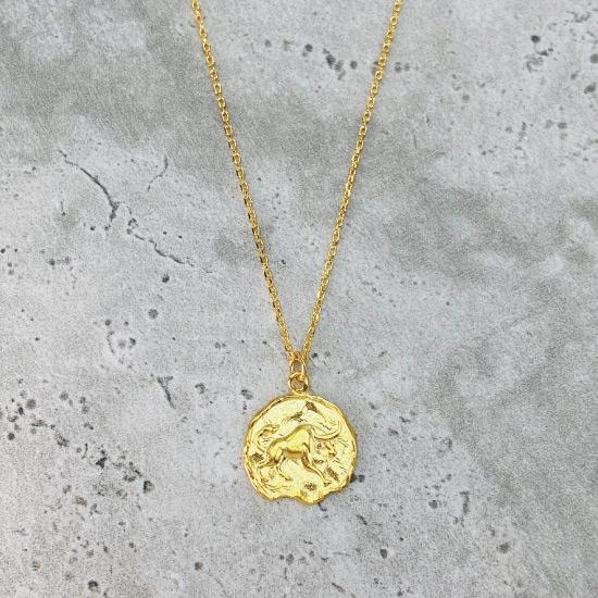 Gold Star Sign Coin Necklace - Taurus