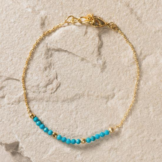 Turquoise Bead and Chain Bracelet - Gold