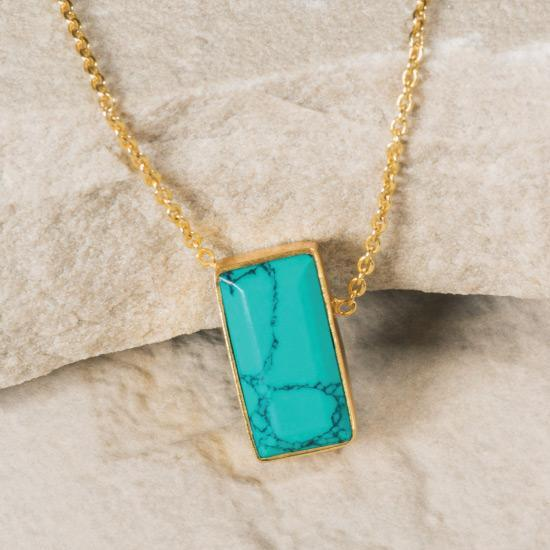 Turquoise Asymmetric Necklace - Gold