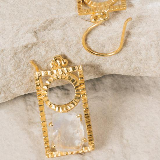 Vintage Gold Moonstone Earrings - Fine wire hook earring featuring a specially designed charm pendant to hold a precious raw Rainbow Moonstone stone gem.