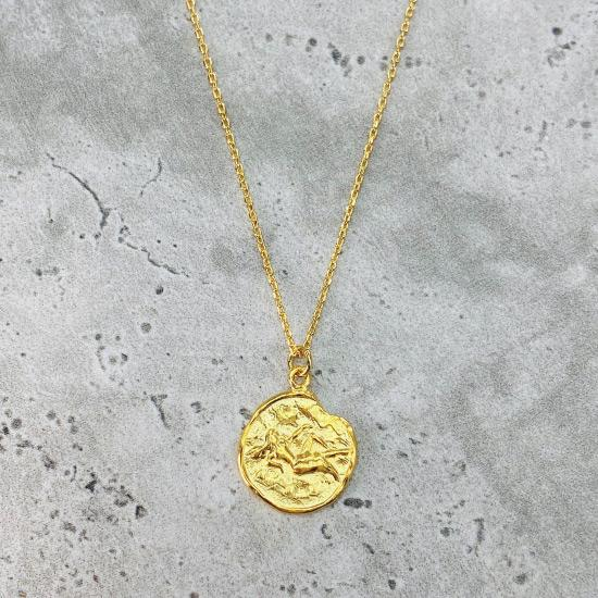 Gold Star Sign Coin Necklace - Virgo