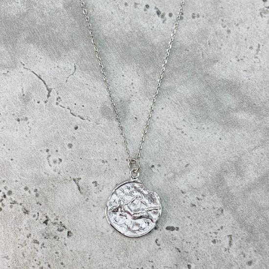 Rhodium Star Sign Coin Necklace - Virgo