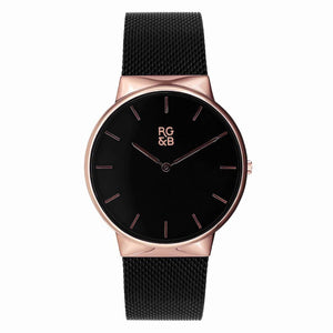 WATCHES V1 - Minimal Rose Gold & Black Teaching Mens Fashion