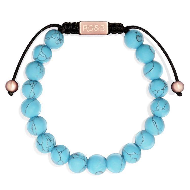 Turquoise Bracelet - Our Turquoise Bead Bracelet Features Natural Stones, Waxed Cord and Brushed Rose Gold Steel Hardware. A Beautiful Addition to any Collection.
