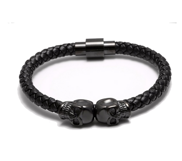 Twin Skull Bracelet Black Nappa Leather / Gunmetal