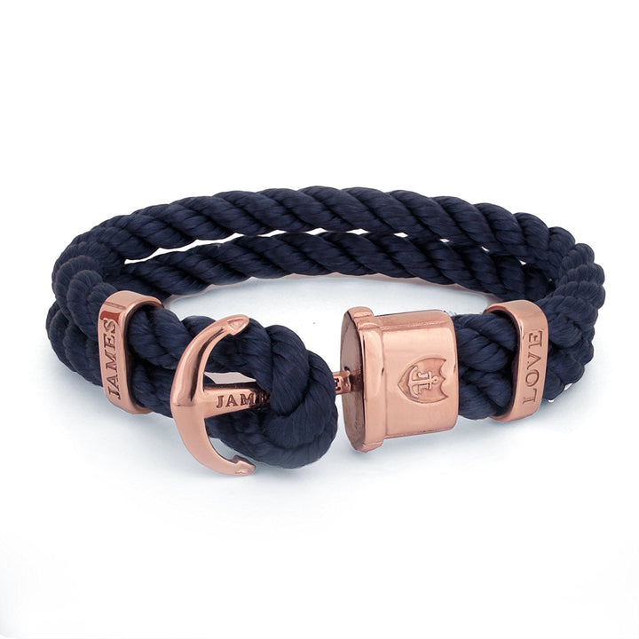 Anker Armband Jloveys IP  Tauwerk royal blau rose gold