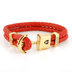 Anker Armband Jloveys leather IP  gold  - red