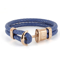 Anker Armband Jloveys leather IP rose gold  - blue