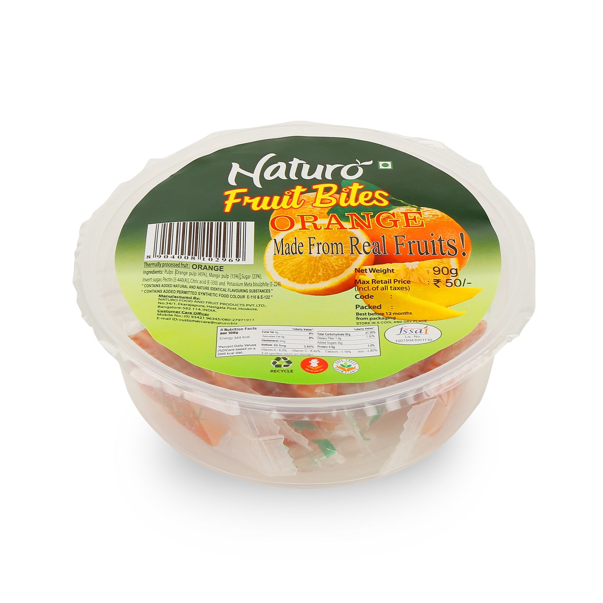 Naturo Orange Fruit Bites Round Container - 90g