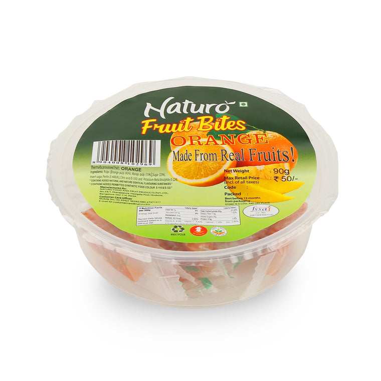 Fruit Bites- Orange Round Container 90gms