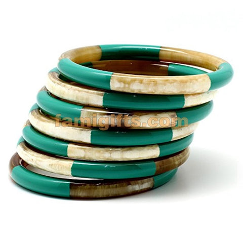 Genuine Horn & Lacquer Bangle Bracelets Set of 7 pieces - Famigifts