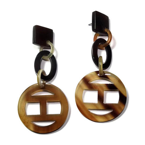 Mixed Natural color Women's Buffalo Horn Earrings - Famigifts
