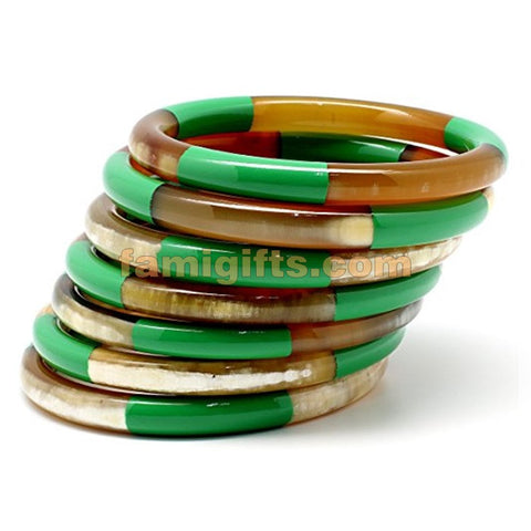 Genuine Horn & Lacquer Bangle Bracelets Set of 7 pieces Green color - Famigifts