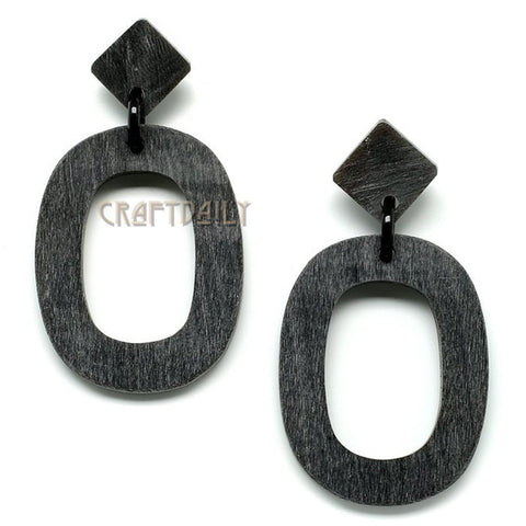 Black color Women's Buffalo Horn Earrings - Famigifts