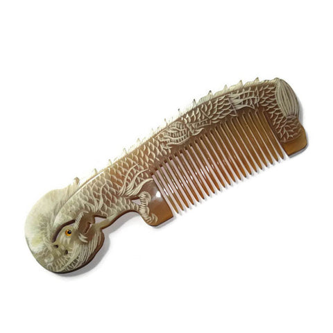 Handmade Buffalo Horn Hair Comb carved dragon both sides