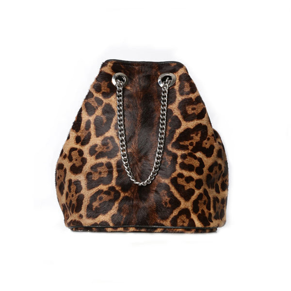 LEOPARD CHAIN BUCKET BAG