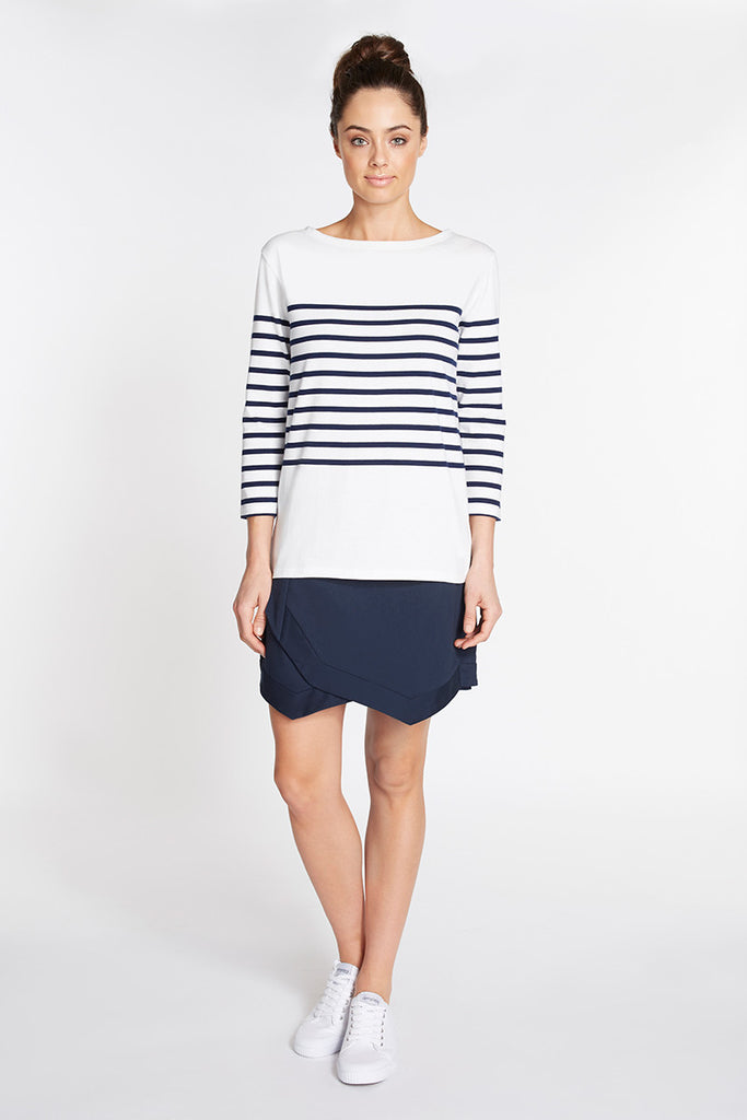 Stripe 3/4 Knit Top