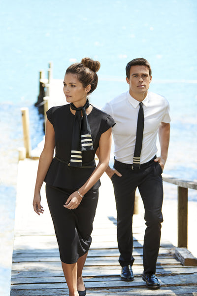 Peplum Dress & Short Sleeve Shirt with Dress Pant
