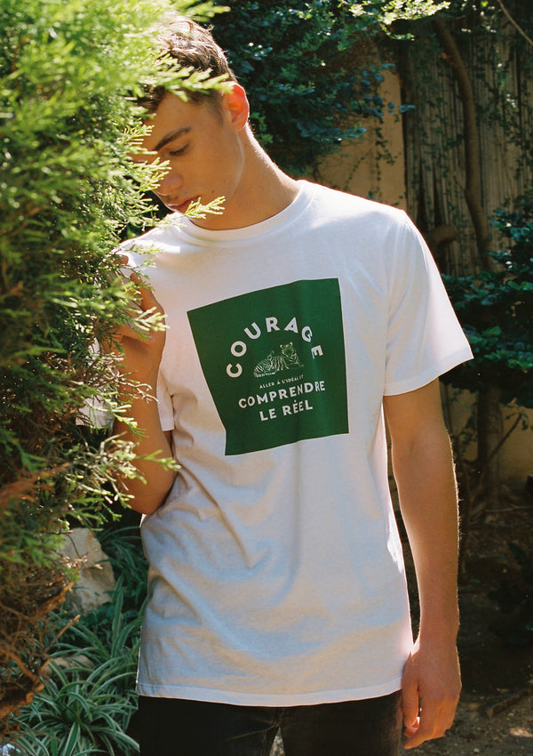 GREEN TIGER BOY T SHIRT IN WHITE