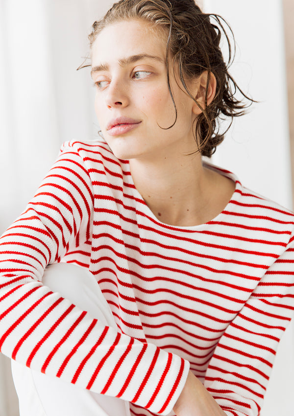 Striped Knit Top in Red