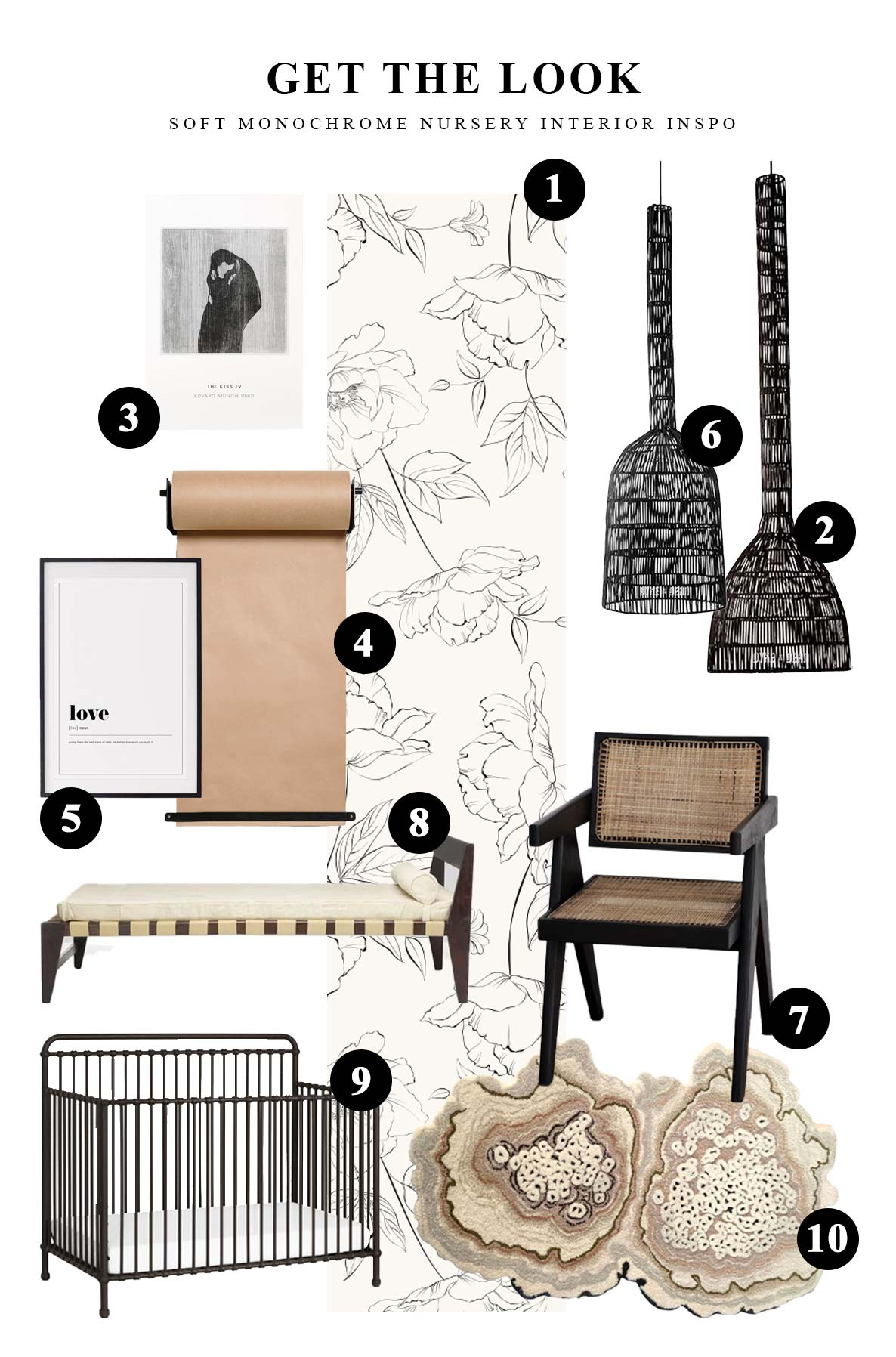 Get the look of our minimal & soft monochrome nursery interior mood board