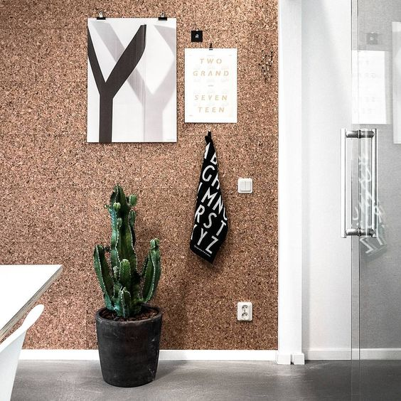 Cork wall as mood board styled with cactus and posters.
