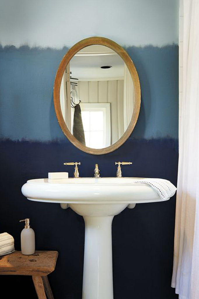 Behr color of 2019, Blueprint in powder room interior.