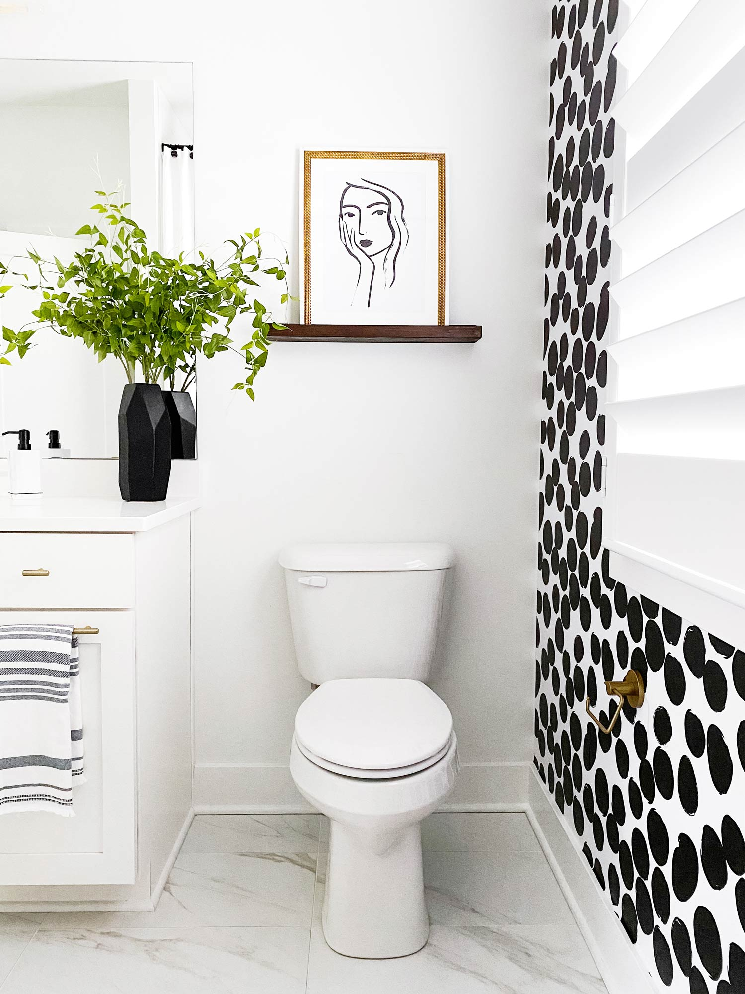 Interior design featuring black and white removable wallpaper