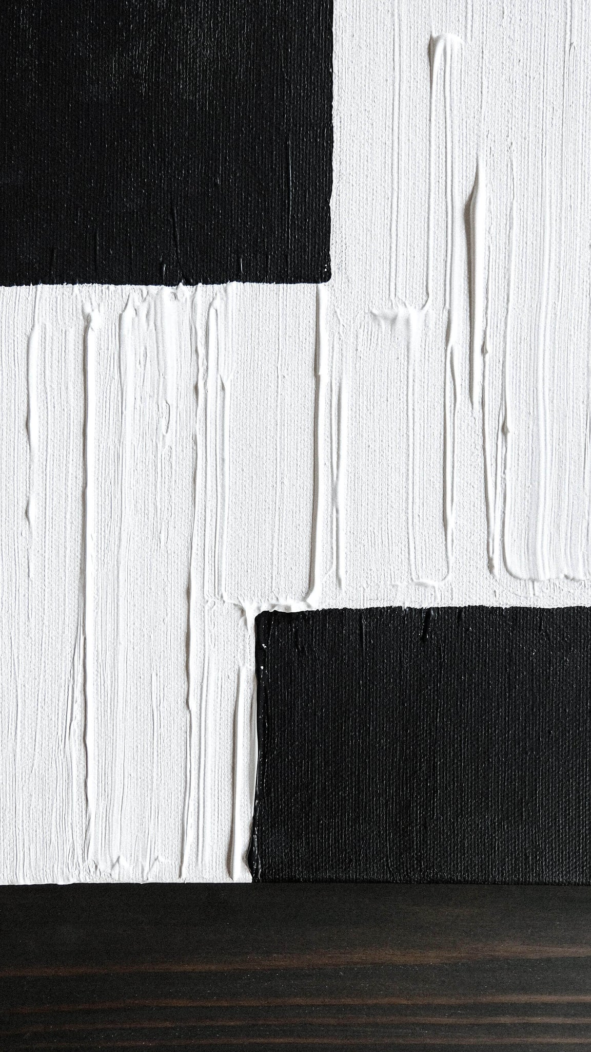 Modern minimal canvas painting DIY with black and white colors