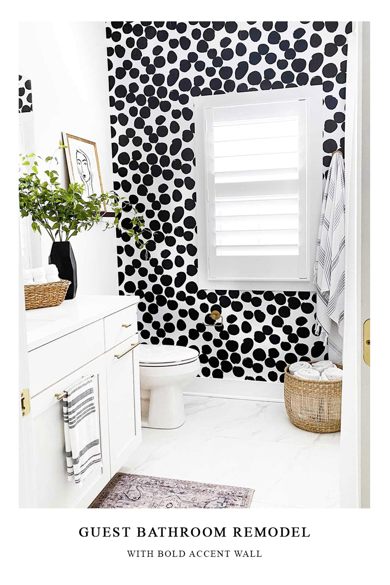 Bold black and white bathroom interior remodel with removable wallpaper