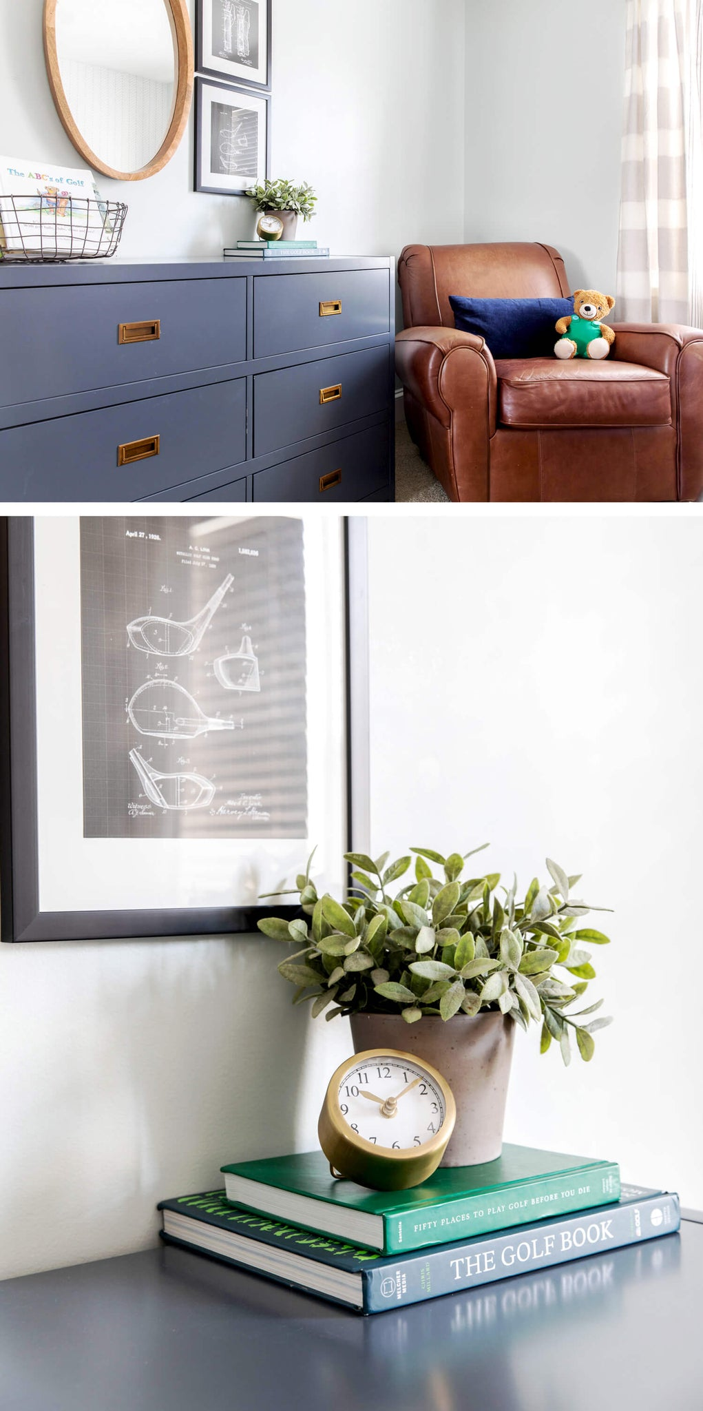 Toddler room reading nook with blue shelf, brown leather chair and book bin storage solution