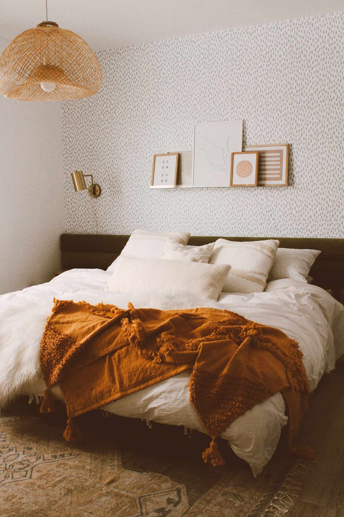 Cozy Bohemian Master Bedroom Interior With Grey Speckle Removable Wall Livettes