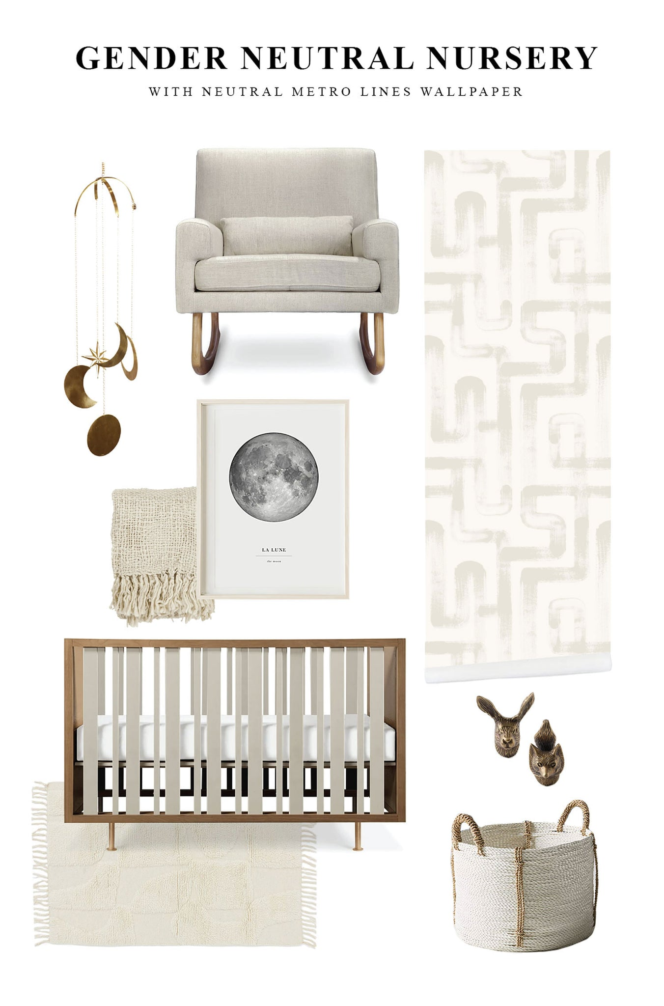 Gender neutral boho nursery interior with modern brush design removable wallpaper