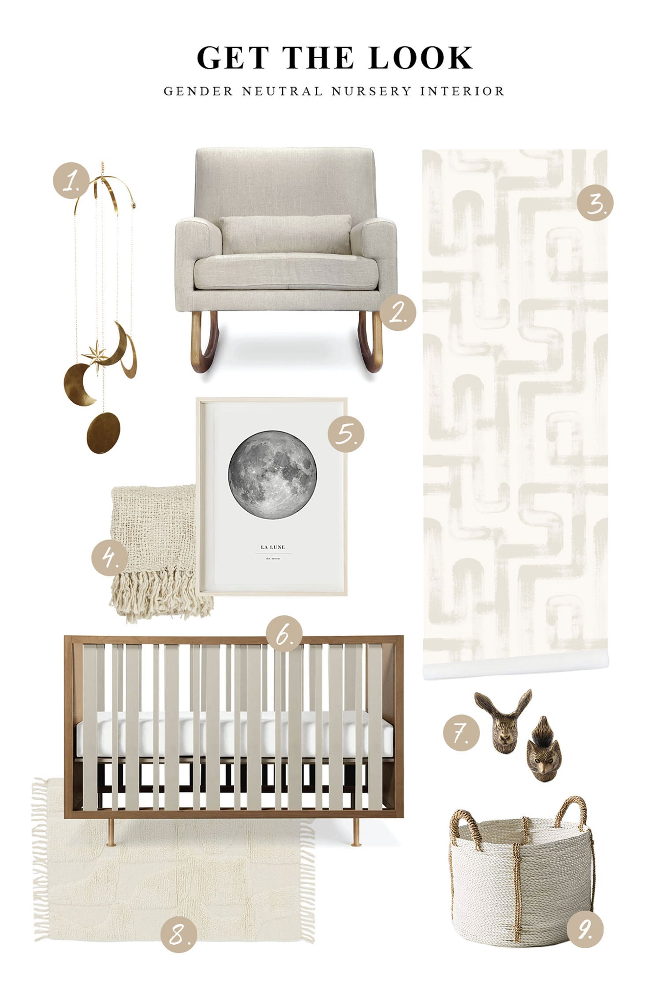 Mid-century modern nursery interior with modern removable wallpaper, walnut wall paneling, vintage woodland theme brass decor and bohemian style throw and rug
