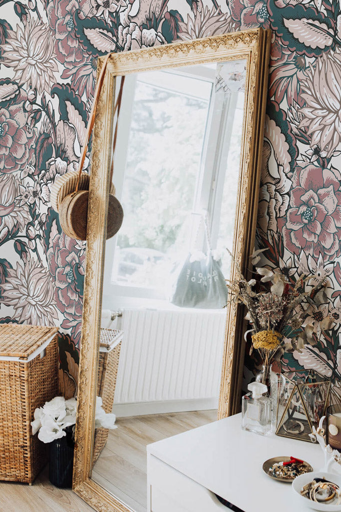 Bohemian girls room interior with oversized paisley print removable wallpaper and gold mirror