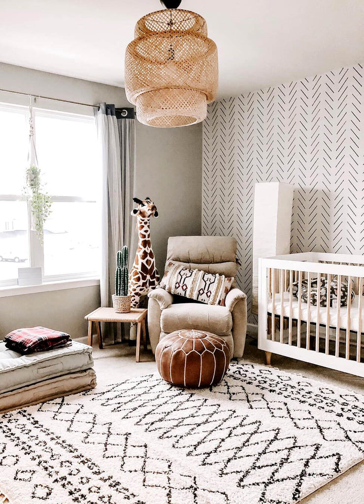 Safari themed nursery with minimal design removable wallpaper