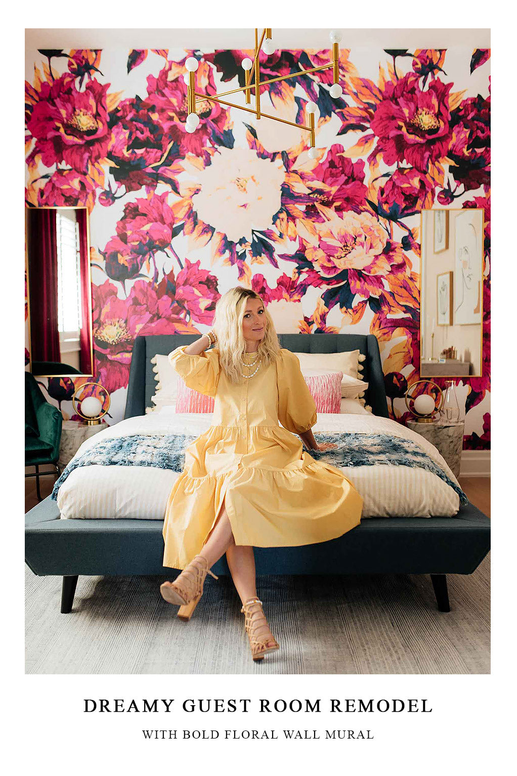 Hotel style guest room interior inspiration with floral accent wall behind bed