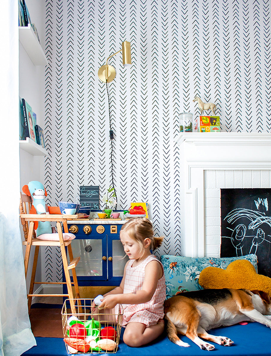 Black and white wallpaper in kid's bedroom interior
