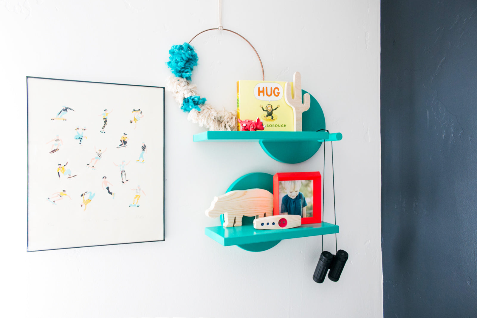 Boys room shelf styling