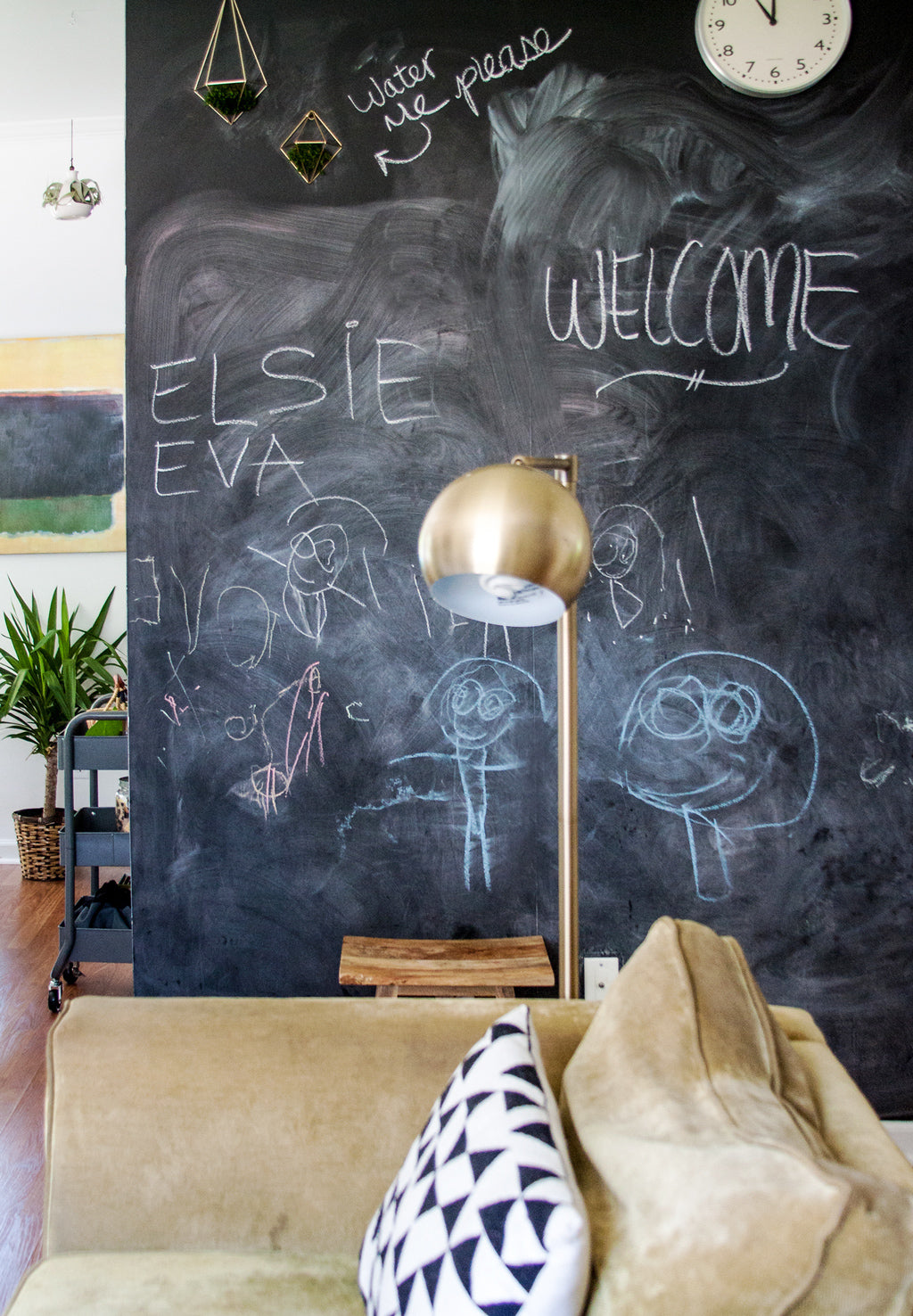 Removable chalkboard wallpaper in kids playroom interior