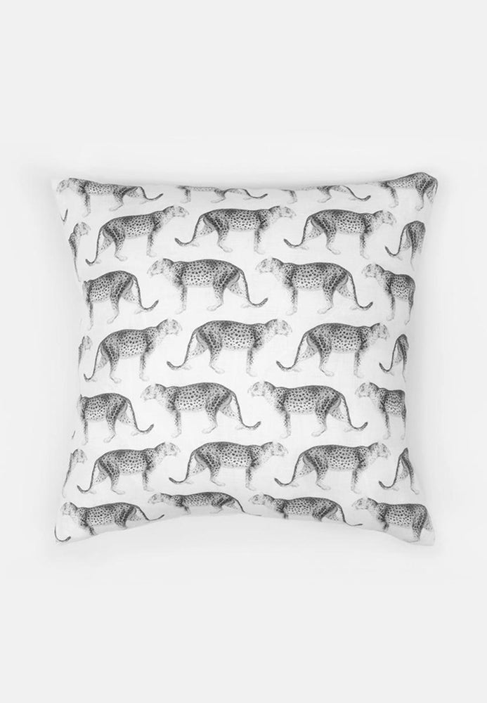Leopard print washed linen pillow cover in black & white