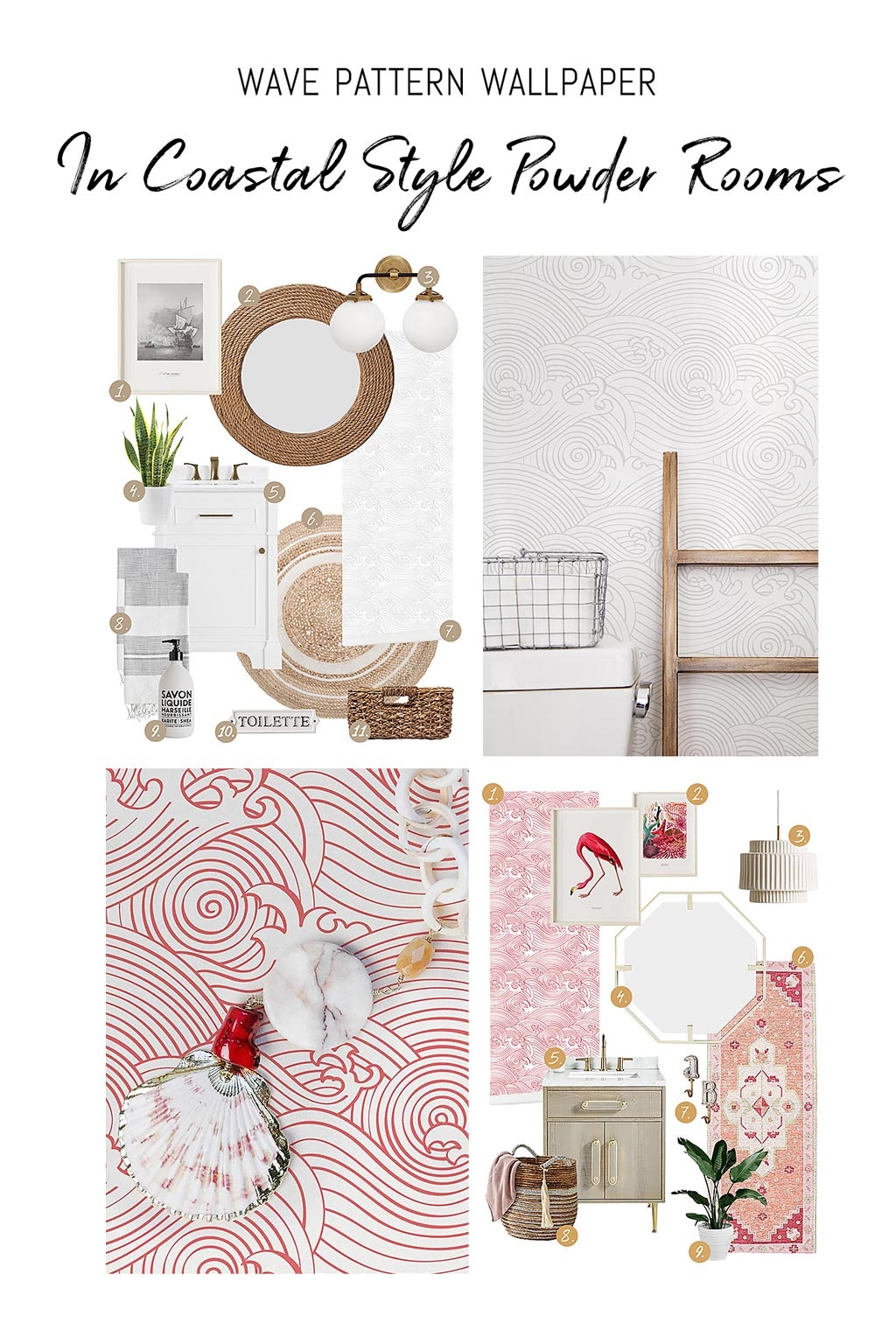 Wave pattern removable wallpaper styled two ways in coastal farmhouse and coastal eclectic style powder room interiors mood boards